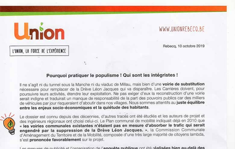Réaction du Pavé à la suite de l publication du groupe Union Rebecq